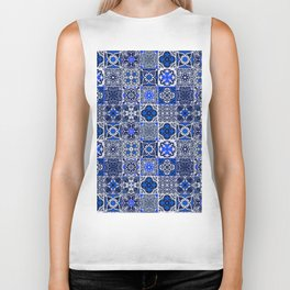 -A34- Blue Traditional Floral Moroccan Tiles. Biker Tank