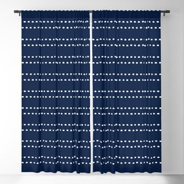Zoe Painted Dot Striped Pattern in Nautical Navy Blue and White Blackout Curtain