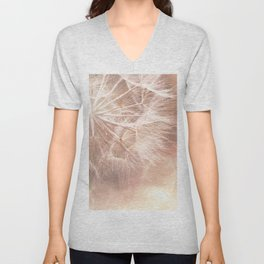 Pink Macro (2) Dandelion Flower - Floral Nature Photography Art and Accessories Unisex V-Neck