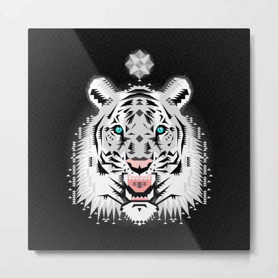 Silver Geometric Tiger Metal Print