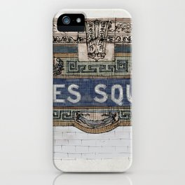 Times Square Subway New York, Tile Mosaic Sign iPhone Case