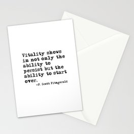 The ability to start over - F. Scott Fitzgerald quote Stationery Cards
