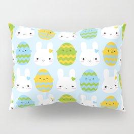 Kawaii Easter Bunny & Eggs Pillow Sham