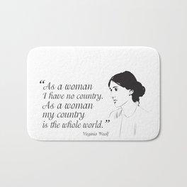 Virginia Woolf Feminist Quote Bath Mat