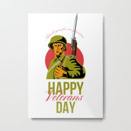 Veterans Day Greeting Card American WWII Soldier Metal Print