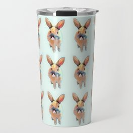 Cute Beige Blue Pastel Bunnys Travel Mug