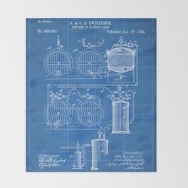 Brewery Patent - Beer Art - Blueprint Throw Blanket