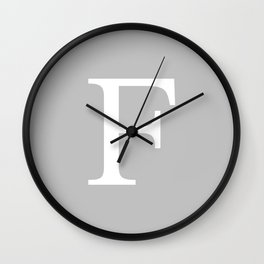 Silver Gray Basic Monogram F Wall Clock