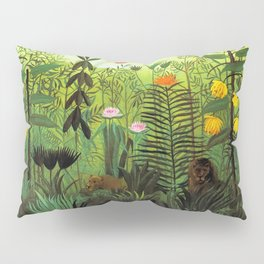 """Henri Rousseau """"Exotic Landscape with Lion and Lioness in Africa"""" Pillow Sham"""