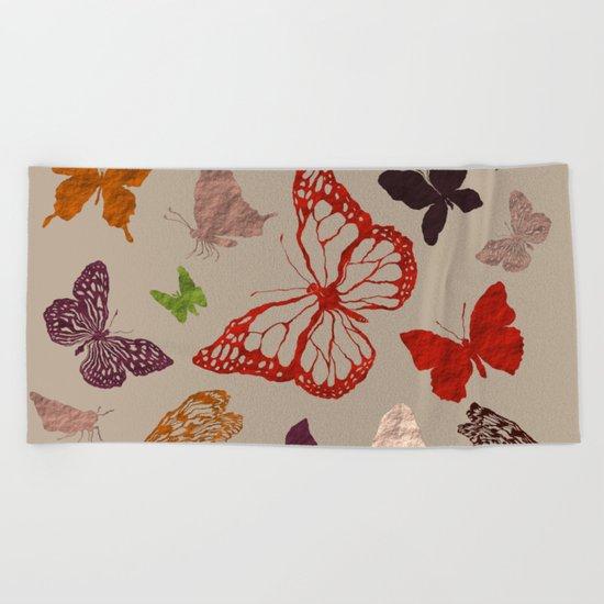 Autumn butterfly neutral Beach Towel