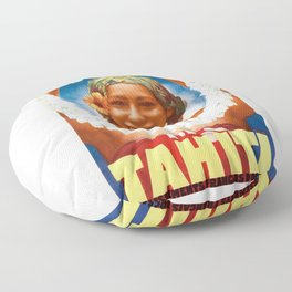 1934 TAHITI The Pearl Of The Pacific Travel Poster Floor Pillow