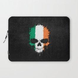 Flag of Ireland on a Chaotic Splatter Skull Laptop Sleeve