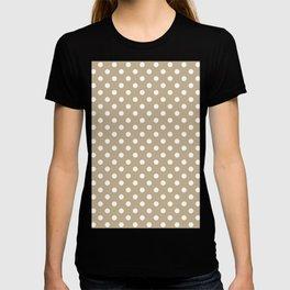 Small Polka Dots - White on Khaki Brown T-shirt