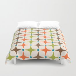Mid Century Modern Star Pattern 814 Brown Orange Turquoise Chartreuse Duvet Cover