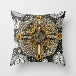 Clocks Lyrical Doodle Throw Pillow
