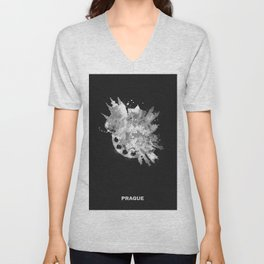 Prague, Czech Republic Black and White Skyround / Skyline Watercolor Painting (Inverted Version) Unisex V-Neck