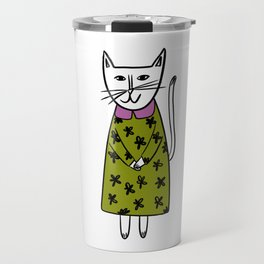 Lenore // A Little Cat in a Green and Pink Dress Art Print Travel Mug