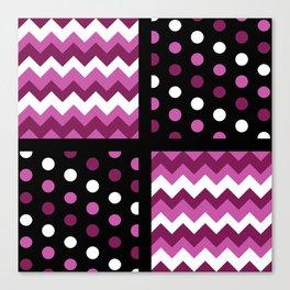 Black/Two-Tone Mulberry/White Chevron/Polkadot Canvas Print