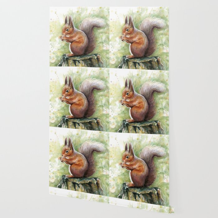 Squirrel and Nut Forest Animals Watercolor Wallpaper