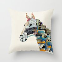 mod Throw Pillows featuring the mod horse by bri.buckley