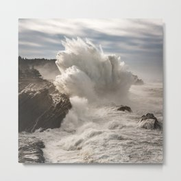 Crashing Waves Explode off the Rocky Cape Arago Oregon Coastline Metal Print