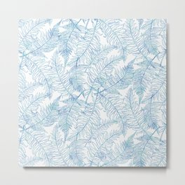 Fern Silhouette Blue Metal Print
