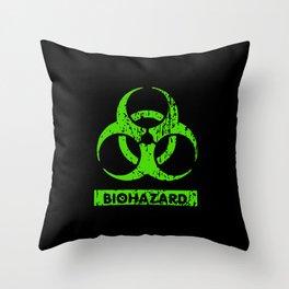 Lime Neon Green Bio-Hazard Throw Pillow