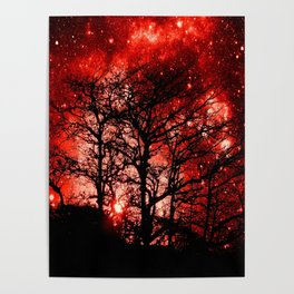 black trees red space Poster