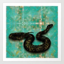 Black Snake on Old Teal Paint texture Art Print