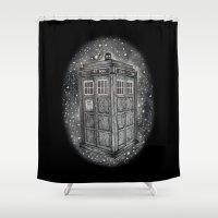 tardis Shower Curtains featuring Tardis by Elizabeth A