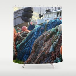 Dutch Harbor Fishing Nets and Boats Shower Curtain