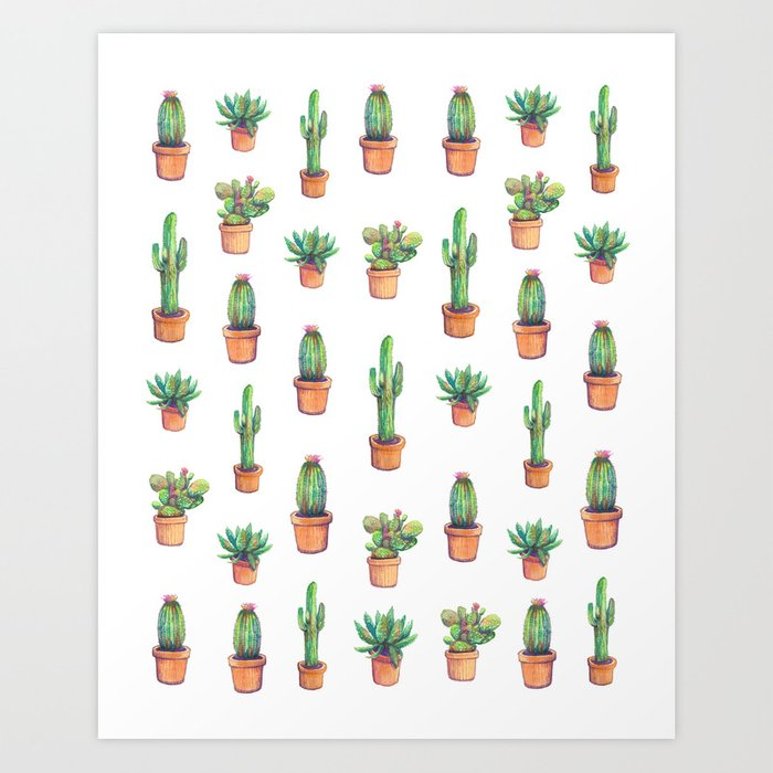my old caactus are back Art Print