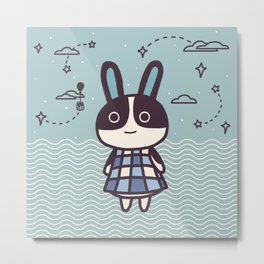 Rabbit Dotty Animal Villager | illustration Metal Print