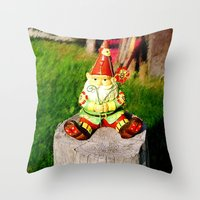gnome Throw Pillows featuring Gnome by Raffaella315
