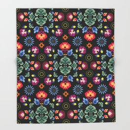 Fiesta Folk Black #society6 #folk Throw Blanket