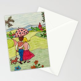 Loving couple in spring Stationery Cards