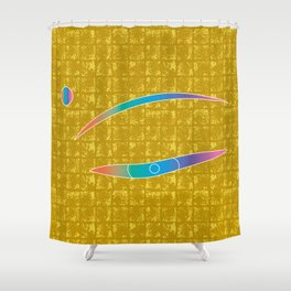 The Eye of MIROKU GOD on Gold-leaf Screen Shower Curtain