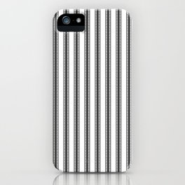 Black and White French Fleur de Lis in Mattress Ticking Stripe iPhone Case