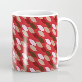 Abstract Leaves (Red): a lively everyday pattern with a retro feel to rev up your day Coffee Mug