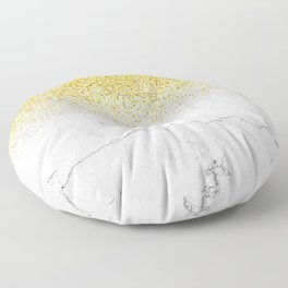 Gold Glitter and Grey Marble texture Floor Pillow