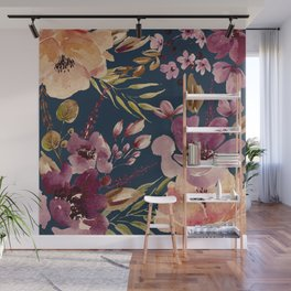 Watercolor Giant flowers fall colors Wall Mural