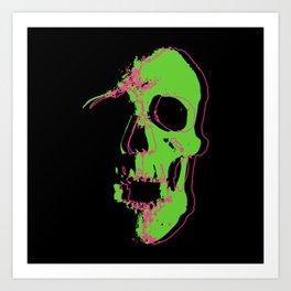 Skull - Neon Art Print
