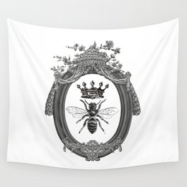 Queen Bee No. 2   Vintage Bee with Crown   Black, White and Grey   Wall Tapestry