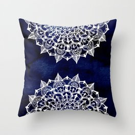 White Lace Medallion on Ink Blue Throw Pillow