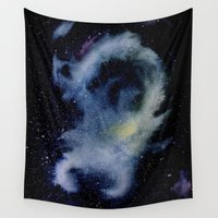 scorpio Wall Tapestries featuring Scorpio constellation by ELA SHARIPOVA