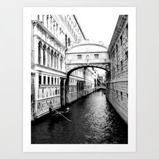 Bridge of sighs and gondola, Venice Art Print