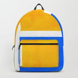 Primary Yellow Cerulean Blue Mid Century Modern Abstract Minimalist Rothko Color Field Squares Backpack