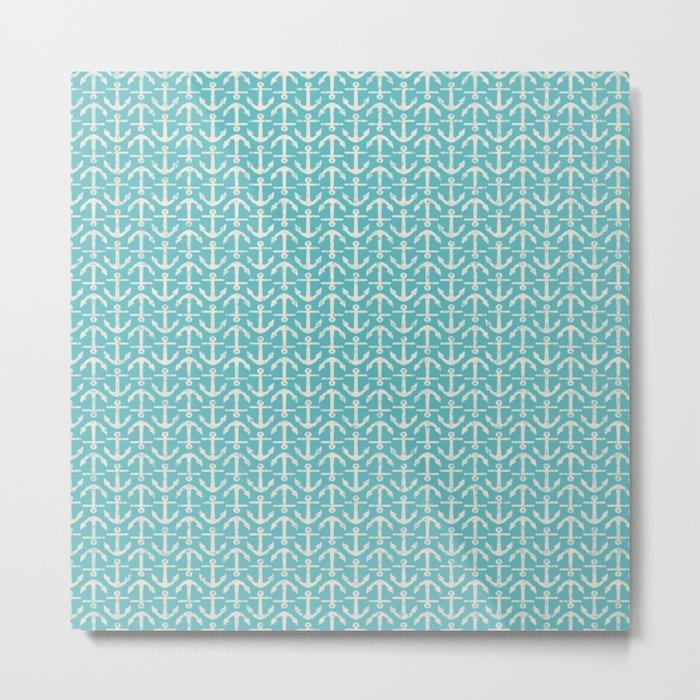 Beach Series Aqua -Maritime Nautical Small Anchor Pattern on #Society6 Metal Print
