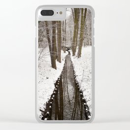 Stream and trees in winter Park Clear iPhone Case