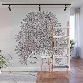 Mind full of flowers. Head with daisy flowers and eyes closed Wall Mural
